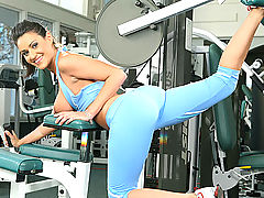 Charley Chase uses her perfect pierced tits to seduce her new trainer